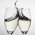 Toasting With Two Glasses Of Champagne by Dual Dual