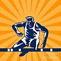 Track And Field Athlete Jumping Hurdles by Aloysius Patrimonio
