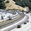 Train And Motorway, California, Usa Print by Martin Bond