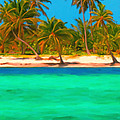Tropical Island 5 - Painterly by Wingsdomain Art and Photography
