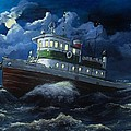 Tug Boat On Rough Water by Virginia Sonntag