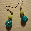 Turquoise And Apple Drop Earrings by Jenna Green