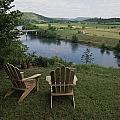 Two Adirondack Chairs On A Scenic by Randy Olson