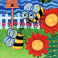 Two Bees With Red Flowers Print by Genevieve Esson