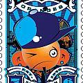 Umgx Vintage Studios Blues Orange Punk Illustrated Stamp Art by David Cook  Los Angeles Prints