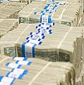 Us Dollar Bills In Bundles by Adam Crowley