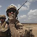 U.s. Marine Uses A Radio In Djibouti by Stocktrek Images