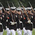 U.s. Marines March By During The Pass by Stocktrek Images