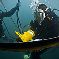 U.s. Navy Diver Instructs A Barbados by Stocktrek Images