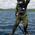 U.s. Navy Diver Jumps Off A Dive by Stocktrek Images