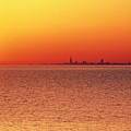 Usa,chicago,lake Michigan,orange Sunset,city Skyline In Distance by Frank Cezus