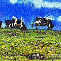 Van Gogh Goes Cow Tipping 7d3290 by Wingsdomain Art and Photography