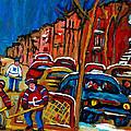 Verdun Rowhouses With Hockey - Paintings Of Verdun Montreal Street Scenes In Winter by Carole Spandau