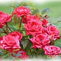Victorian Rose Garden - Digital Painting Print by Carol Groenen