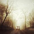 Vintage Car On Foggy Rural Road by Jill Battaglia