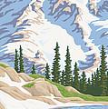 Vintage Mount Rainier Travel Poster by Mitch Frey