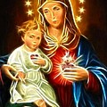 Virgin Mary And Baby Jesus Sacred Heart Print by Pamela Johnson