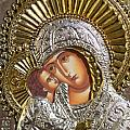 Virgin Mary with Child Jesus Greek Icon Print by Jake Hartz