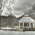 Warm Gazebo on a cold day Print by Brett Engle