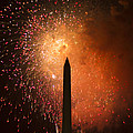 Washington Monument And Fireworks I by Phil Bolles