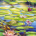 Water Lilies At Mckee Gardens I - Turtle Butterfly And Koi Fish by Nancy Tilles