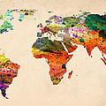 Watercolor World Map  by Mark Ashkenazi