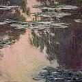 Waterlilies with Weeping Willows Print by Claude Monet