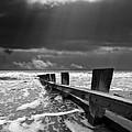 wave defenses Print by Meirion Matthias