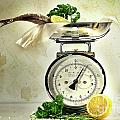 Weight Scale With Fish  by Sandra Cunningham