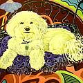 White Dog In Garden by Patricia Lazar