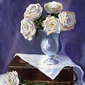 White Roses In A Silver Vase by Jack Skinner