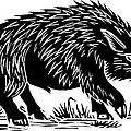 Wild Boar, Woodcut by Gary Hincks
