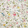 Wild Flowers Design For Silk Material by William Kilburn