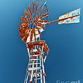 Windmill Rust Orange With Blue Sky by Rebecca Margraf