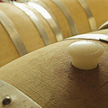 Wine Barrel Detail In Cellar At Winery by James Forte