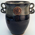 Wine Chiller Or Vase With Licorice And Light Beige Glaze  by Carolyn Coffey Wallace