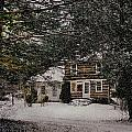 Winter Cottage Print by Gordon Beck