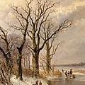 Winter Landscape With Faggot Gatherers Conversing On A Frozen Lake by Josephus Gerardus Hans