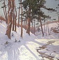 Winter Woodland With A Stream by James MacLaren