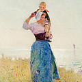Woman And Child In A Meadow by Hector Caffieri