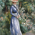 Woman in a Blue Dress Standing in the Garden at Saint-Cloud Print by Pierre Auguste Renoir
