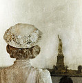 Woman In Hat Viewing The Statue Of Liberty  by Jill Battaglia