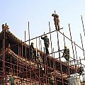 Workers Climb Scaffolding On The Palace by Justin Guariglia