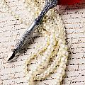 Writing Pen And Perals  by Garry Gay