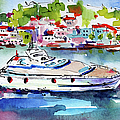 Yachting Off The Coast Of Amalfi Italy Watercolor by Ginette Callaway