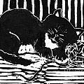 Yarn Cat  Block Print by Ellen Miffitt