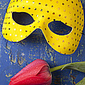 Yellow Mask And Red Tulip by Garry Gay