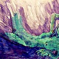 Young Statue Of Liberty Falling From Grace Female Figure Portrait Painting In Green Purple Blue by MendyZ M Zimmerman