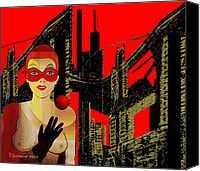 Glove Digital Art Canvas Prints -   014 - In Red   City Darkness  Canvas Print by Irmgard Schoendorf Welch