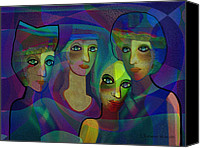 Four Women Canvas Prints -  027 - Sisters in blue ... Canvas Print by Irmgard Schoendorf Welch